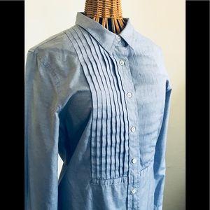 J. Crew chambray blue tuxedo shirt